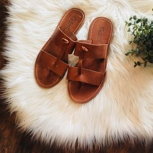 •Madewell• Brown Leather Flat Sandals